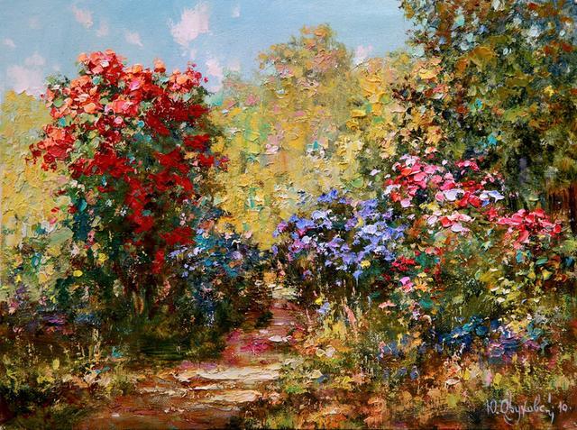 湖水,树,花儿,建筑,花园,雪景自然景观油画名家风景油画